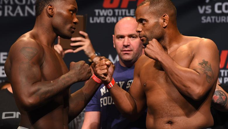 LAS VEGAS, NV - MAY 22:   (L-R) Opponents Anthony 'Rumble' Johnson and Daniel Cormier face off during the UFC 187 weigh-in at the MGM Grand Conference Center on May 2, 2015 in Las Vegas, Nevada. (Photo by Josh Hedges/Zuffa LLC/Zuffa LLC via Getty Images)
