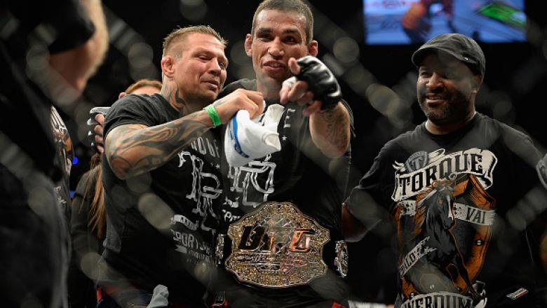 MEXICO CITY, MEXICO - NOVEMBER 15:  Fabricio Werdum celebrates with his corner after defeating Mark Hunt in their interim UFC heavyweight championship bout during the UFC 180 event at Arena Ciudad de Mexico on November 15, 2014 in Mexico City, Mexico.  (P