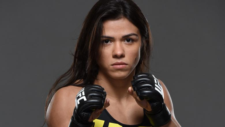 RIO DE JANEIRO, BRAZIL - JULY 28:  Claudia Gadelha poses for a portrait during a UFC photo session at the Sheraton Rio Hotel on July 28, 2015 in Rio de Janeiro, Brazil.  (Photo by Jeff Bottari/Zuffa LLC/Zuffa LLC via Getty Images)