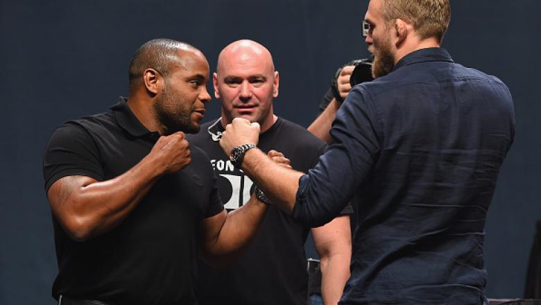 LAS VEGAS, NV - SEPTEMBER 04:  (L-R) UFC light heavyweight champion Daniel Cormier and Alex Gustafsson face off during the UFC's Go Big launch event inside MGM Grand Garden Arena on September 4, 2015 in Las Vegas, Nevada.  (Photo by Josh Hedges/Zuffa LLC/