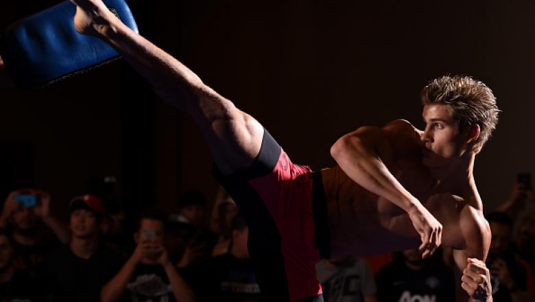 HOUSTON, TX - SEPTEMBER 30:  Sage Northcutt holds an open training session for fans and media at the Westin Hotel on September 30, 2015 in Houston, Texas. (Photo by Josh Hedges/Zuffa LLC/Zuffa LLC via Getty Images)