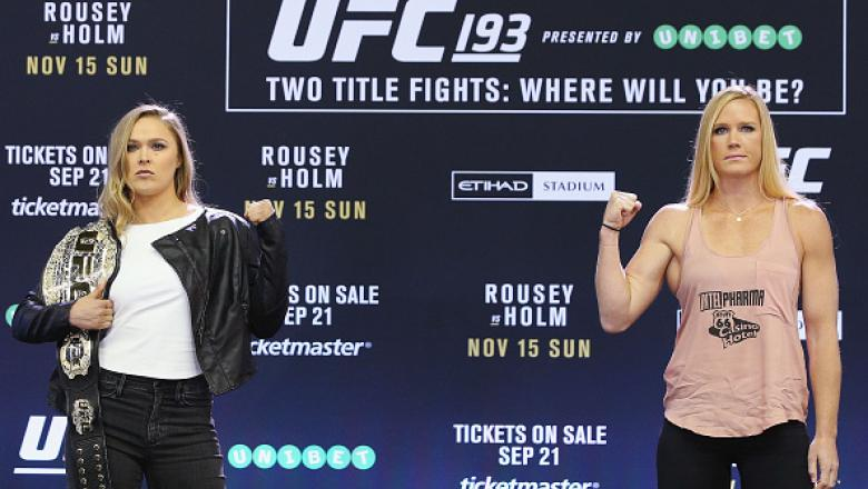 MELBOURNE, AUSTRALIA - SEPTEMBER 16:  UFC Women's Bantamweight Champion Ronda Rousey (L) and her opponent Holly Holm pose during the UFC 193 media event at Etihad Stadium on September 16, 2015 in Melbourne, Australia.  (Photo by Michael Dodge/Zuffa LLC/Zu