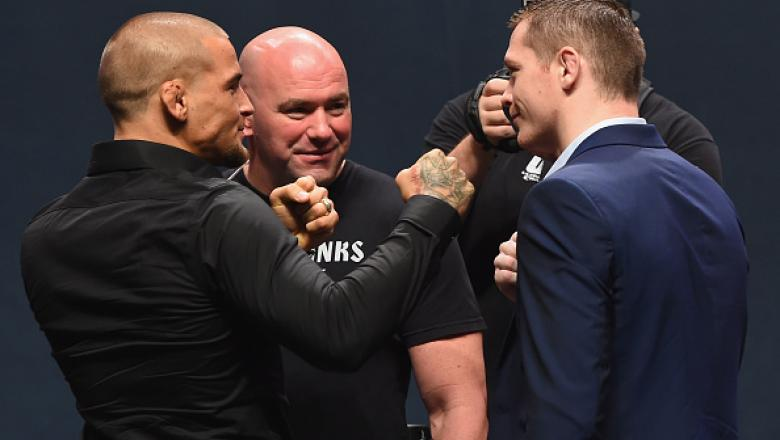 LAS VEGAS, NV - SEPTEMBER 04:  (L-R) Dustin Poirier and Joe Duffy face off during the UFC's Go Big launch event inside MGM Grand Garden Arena on September 4, 2015 in Las Vegas, Nevada.  (Photo by Josh Hedges/Zuffa LLC/Zuffa LLC via Getty Images)