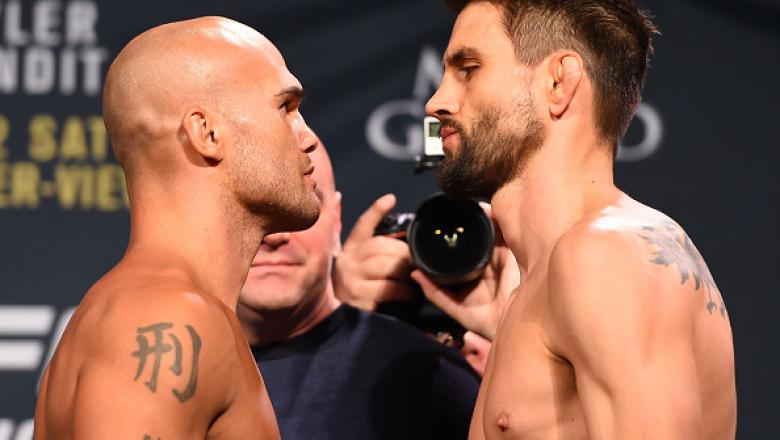 LAS VEGAS, NV - JANUARY 01:   (L-R) UFC welterweight champion Robbie Lawler and opponent Carlos Condit face off during the UFC 195 weigh-in at the MGM Grand Conference Center on January 1, 2016 in Las Vegas, Nevada. (Photo by Josh Hedges/Zuffa LLC/Zuffa L