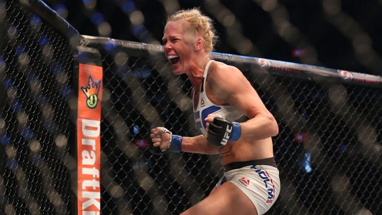 MELBOURNE, AUSTRALIA - NOVEMBER 15:  Holly Holm of the United States celebrates victory over Ronda Rousey of the United States in their UFC women's bantamweight championship bout during the UFC 193 event at Etihad Stadium on November 15, 2015 in Melbourne