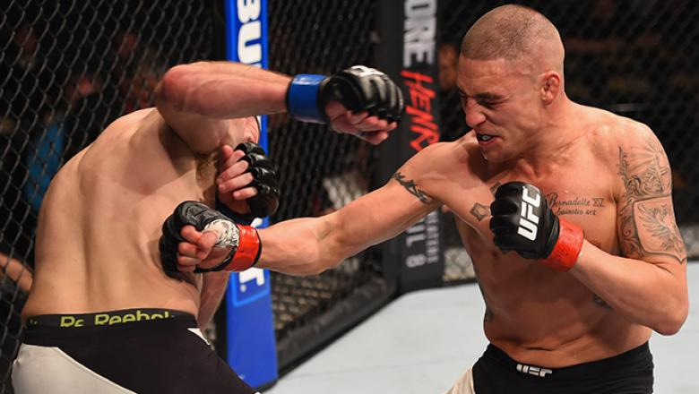 LAS VEGAS, NV - MARCH 05: (R-L) Diego Sanchez punches Jim Miller in their lightweight bout during the UFC 196 event inside MGM Grand Garden Arena on March 5, 2016 in Las Vegas, Nevada. (Photo by Josh Hedges/Zuffa LLC/Zuffa LLC via Getty Images)