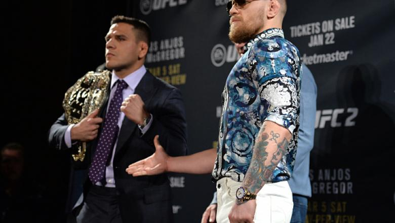 AS VEGAS, NV - JANUARY 20: Rafael dos Anjos of Brazil (L) and Conor McGregor of Ireland (R) face off during the UFC 197 on-sale press conference event inside MGM Grand Hotel & Casino on January 20, 2016 in Las Vegas, Nevada. (Photo by Jeff Bottari/Zuffa L