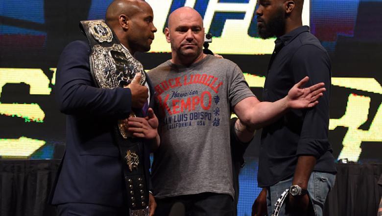 LAS VEGAS, NV - MARCH 04:  (L-R) Opponents Daniel Cormier and Jon Jones face off during the UFC Unstoppable launch press conference at the MGM Grand Garden Arena on March 4, 2016 in Henderson, Nevada. (Photo by Josh Hedges/Zuffa LLC/Zuffa LLC via Getty Im