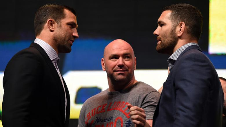 LAS VEGAS, NV - MARCH 04:  (L-R) Opponents Luke Rockhold and Chris Weidman face off during the UFC Unstoppable launch press conference at the MGM Grand Garden Arena on March 4, 2016 in Las Vegas, Nevada. (Photo by Josh Hedges/Zuffa LLC/Zuffa LLC via Getty