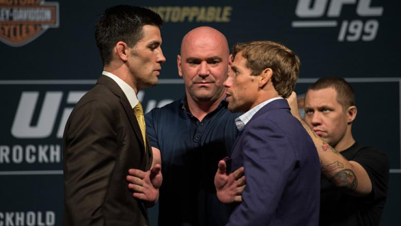 INGLEWOOD, CA - JUNE 02:   (L-R) Bantamweight champion Dominick Cruz and Urijah Faber face off during the UFC 199: Press Conference at the Forum on June 2, 2016 in Inglewood, California. (Photo by Brandon Magnus/Zuffa LLC/Zuffa LLC via Getty Images)