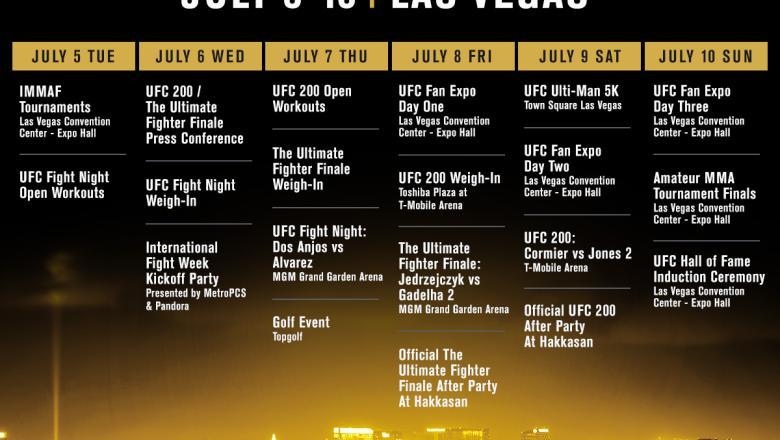 2016 UFC International Fight Week calendar schedule
