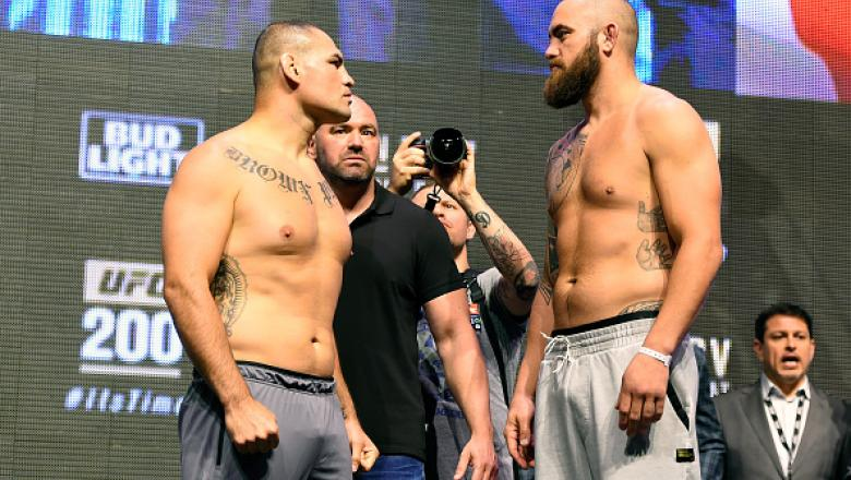 LAS VEGAS, NV - JULY 08:   (L-R) Opponents Cain Velasquez and Travis Browne face off during the UFC 200 weigh-in at T-Mobile Arena on July 8, 2016 in Las Vegas, Nevada. (Photo by Josh Hedges/Zuffa LLC/Zuffa LLC via Getty Images)