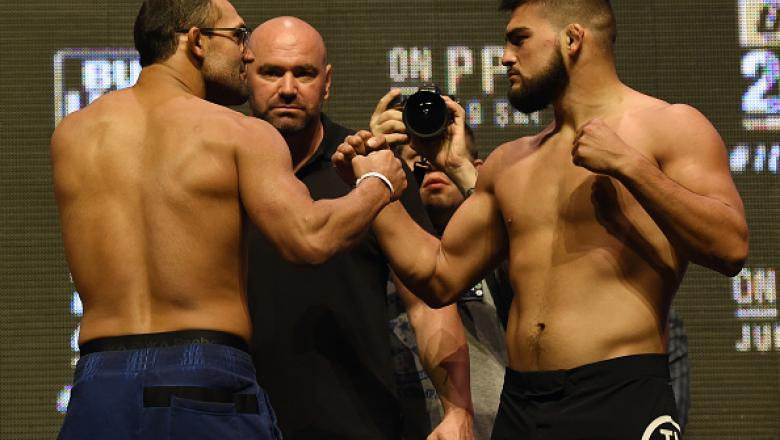 LAS VEGAS, NV - JULY 08:  Mixed martial artists Johny Hendricks (L) and Kelvin Gastelum face off during their weigh-in for UFC 200 at T-Mobile Arena on July 8, 2016 in Las Vegas, Nevada. The fighters will meet in a welterweight bout on July 9 at T-Mobile