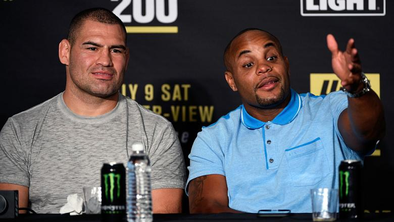 LAS VEGAS, NV - JULY 09:  (L-R) Teammates Cain Velasquez and Daniel Cormier speak to the media during the UFC 200 post-fight press conference at T-Mobile Arena on July 9, 2016 in Las Vegas, Nevada.  (Photo by Jeff Bottari/Zuffa LLC/Zuffa LLC via Getty Ima