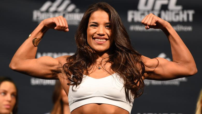 FAIRFAX, VA - APRIL 03:   Juliana Pena weighs in during the UFC weigh-in at the Patriot Center on April 3, 2015 in Fairfax, Virginia. (Photo by Josh Hedges/Zuffa LLC/Zuffa LLC via Getty Images)