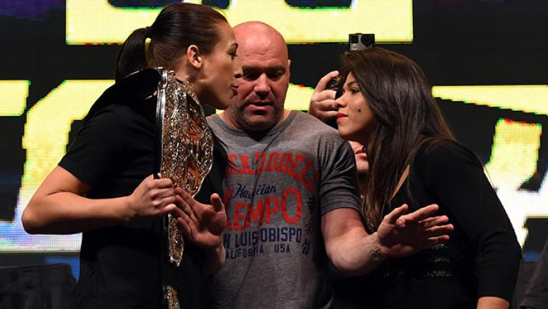 LAS VEGAS, NV - MARCH 04: (L-R) Opponents Joanna Jedrzejczyk and Claudia Gadelha face off during the UFC Unstoppable launch press conference at the MGM Grand Garden Arena on March 4, 2016 in Las Vegas, Nevada. (Photo by Josh Hedges/Zuffa LLC/Zuffa LLC via