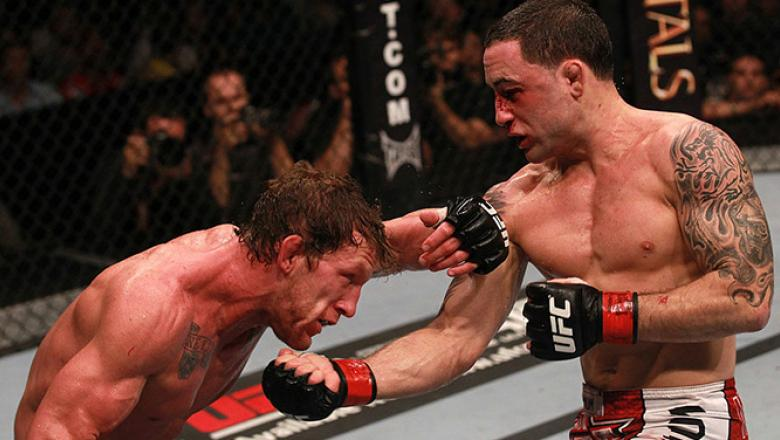 HOUSTON, TX - OCT. 08: (R-L) Frankie Edgar punches Gray Maynard during the UFC 136 event at Toyota Center.  (Photo by Nick Laham/Zuffa LLC)