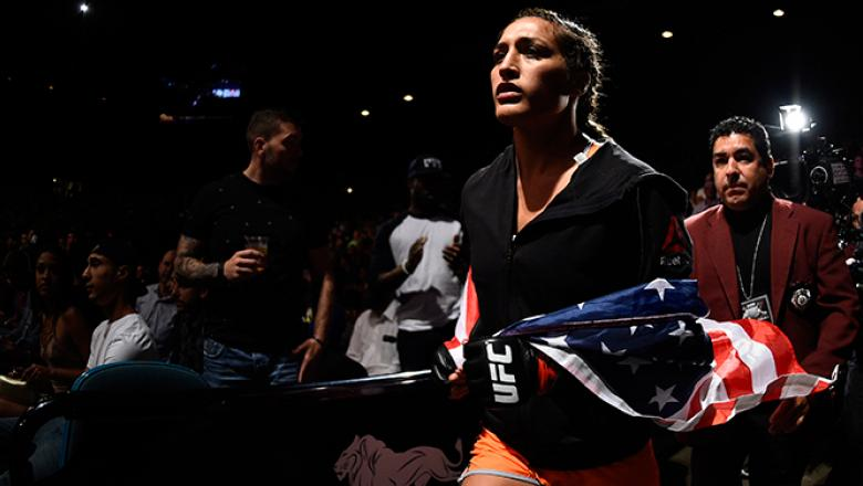 JULY 08: Tatiana Suarez prepares to enter the Octagon before here women's strawweight bout against Amanda Cooper during The Ultimate Fighter Finale event at MGM Grand Garden Arena on July 8, 2016 in Las Vegas, Nevada. (Photo by Jeff Bottari/Zuffa LLC/Zuff