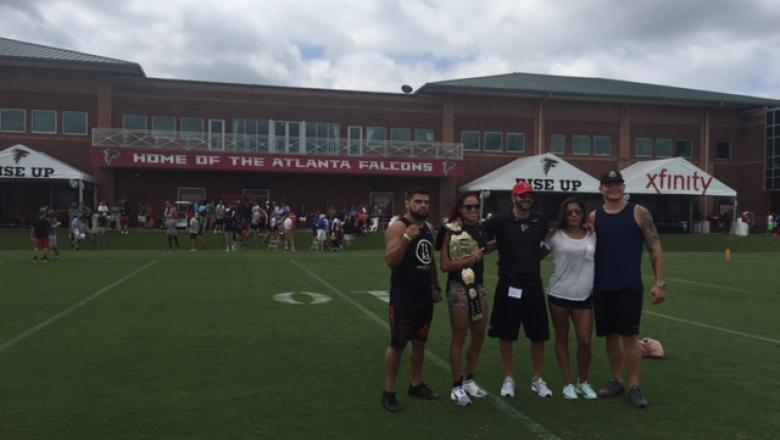 UFC fighters visit Atlanta Falcons July 2016 Kelvin Gastelum, Amanda Nunes, Julianna Pena and Chase Sherman