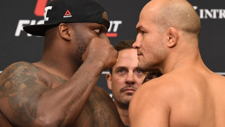 Derrick Lewis and Junior Dos Santos of Brazil face off during the UFC Fight Night weigh-in