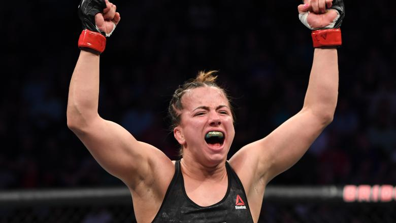 Maycee Barber celebrates after her victory in UFC Nashville