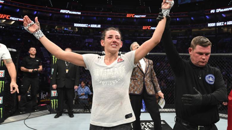 Marina Rodriguez of Brazil celebrates after defeating Jessica Aguilar