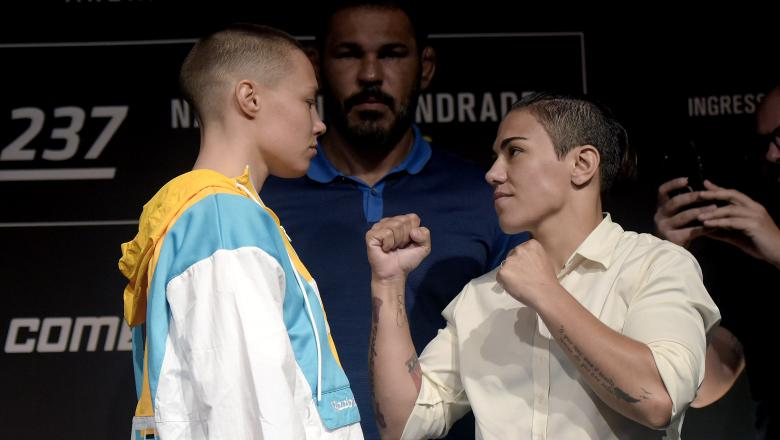 Rose Namajunas and Jessica Andrade face off during the UFC 237 tickets on sale presser
