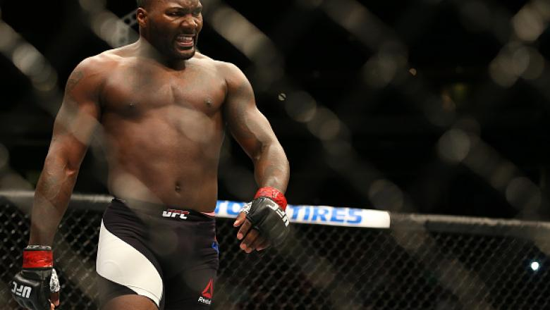 NEWARK, NJ - JANUARY 30:  Anthony Johnson celebrates his knockout victory over Ryan Bader in their light heavyweight bout during the UFC Fight Night event at the Prudential Center on January 30, 2016 in Newark, New Jersey. (Photo by Ed Mulholland/Zuffa LL