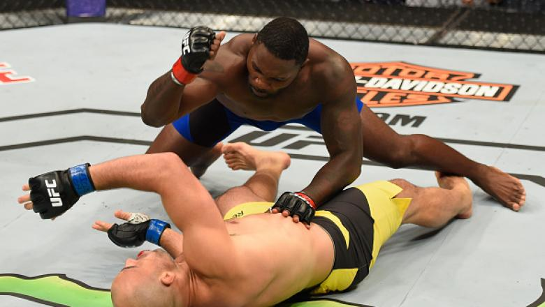 LAS VEGAS, NV - AUGUST 20:  Anthony Johnson knocks out Glover Teixeira of Brazil in their light heavyweight bout during the UFC 202 event at T-Mobile Arena on August 20, 2016 in Las Vegas, Nevada.  (Photo by Josh Hedges/Zuffa LLC/Zuffa LLC via Getty Image