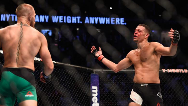 LAS VEGAS, NV - AUGUST 20:  Nate Diaz fights Conor McGregor of Ireland in their welterweight bout during the UFC 202 event at T-Mobile Arena on August 20, 2016 in Las Vegas, Nevada.  (Photo by Jeff Bottari/Zuffa LLC/Zuffa LLC via Getty Images)