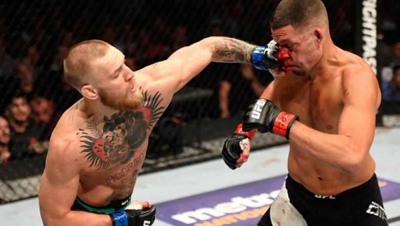 LAS VEGAS, NV - AUGUST 20:  Nate Diaz fights Conor McGregor of Ireland in their welterweight bout during the UFC 202 event at T-Mobile Arena on August 20, 2016 in Las Vegas, Nevada.  (Photo by Josh Hedges/Zuffa LLC/Zuffa LLC via Getty Images)