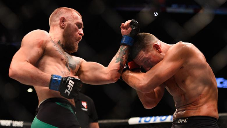 LAS VEGAS, NV - AUGUST 20:  Conor McGregor of Ireland fights Nate Diaz in their welterweight bout during the UFC 202 event at T-Mobile Arena on August 20, 2016 in Las Vegas, Nevada.  (Photo by Jeff Bottari/Zuffa LLC/Zuffa LLC via Getty Images)
