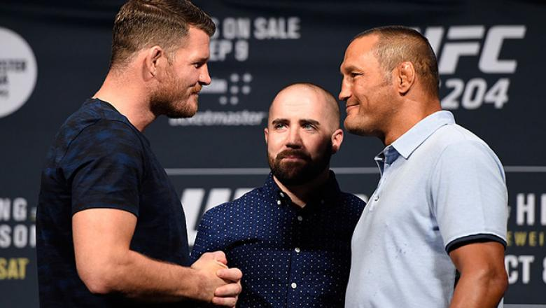 LAS VEGAS, NV - AUGUST 19: (L-R) Opponents Michael Bisping and Dan Henderson face off during the UFC 204 press conference at the MGM Grand Hotel & Casino on August 19, 2016 in Las Vegas, Nevada. (Photo by Josh Hedges/Zuffa LLC