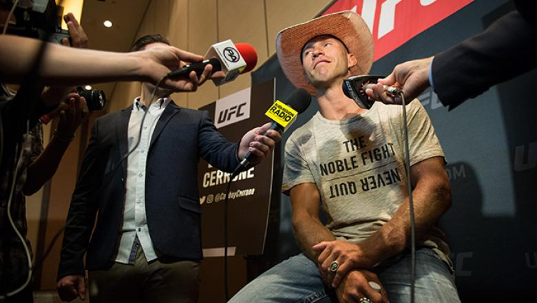 AUGUST 18: Donald Cerrone speaks to the media during the UFC 202 Ultimate Media Day at the Red Rock Casino Resort on August 18, 2016 in Las Vegas, Nevada. (Photo by Brandon Magnus/Zuffa LLC/Zuffa LLC via Getty Images)