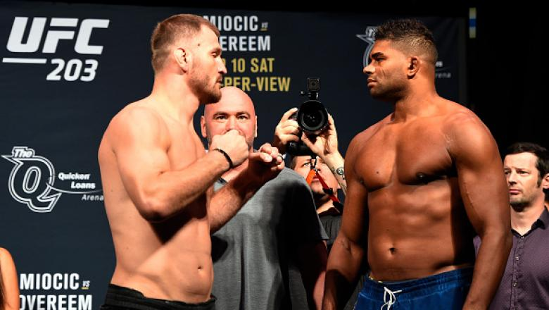 CLEVELAND, OH - SEPTEMBER 09:  (L-R) Stipe Miocic of the United States and Alistair Overeem of the Netherlands face off during the UFC 203 Weigh-in at Quicken Loans Arena on September 9, 2016 in Cleveland, Ohio. (Photo by Josh Hedges/Zuffa LLC/Zuffa LLC v
