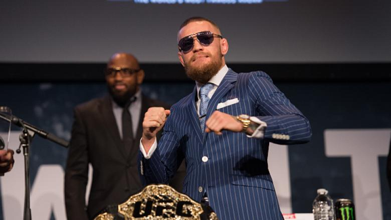 NEW YORK, NY - SEPTEMBER 27:  UFC featherweight champion Conor McGregor walks onto the stage during the UFC 205 press event at Madison Square Garden on September 27, 2016 in New York City. (Photo by Brandon Magnus/Zuffa LLC/Zuffa LLC via Getty Images)