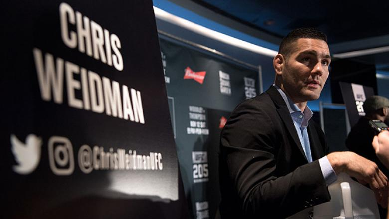 NEW YORK, NY - NOVEMBER 09:  Chris Weidman speaks to the media during the UFC 205 Ultimate Media Day inside Madison Square Garden on November 9, 2016 in New York City. (Photo by Brandon Magnus/Zuffa LLC/Zuffa LLC via Getty Images)