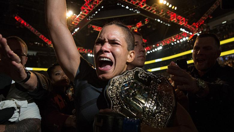 LAS VEGAS, NV - JULY 09:  Amanda Nunes of Brazil exits the Octagon after defeating Miesha Tate during the UFC 200 event on July 9, 2016 at T-Mobile Arena in Las Vegas, Nevada.  (Photo by Brandon Magnus/Zuffa LLC/Zuffa LLC via Getty Images)