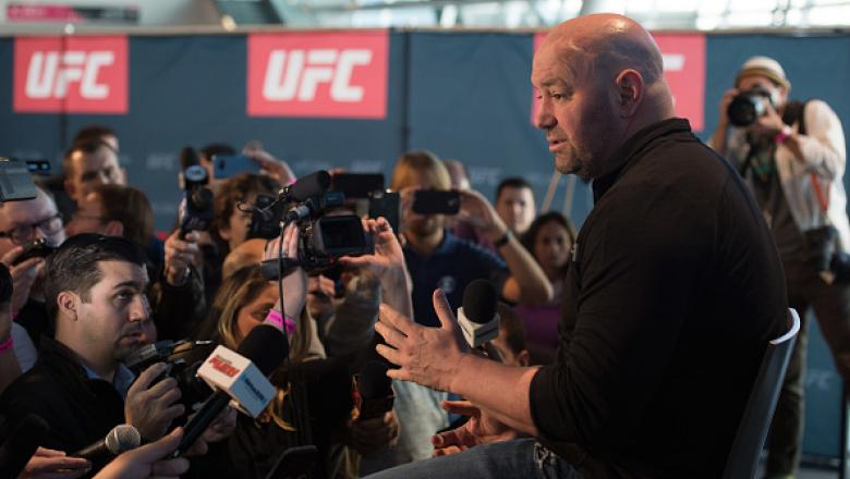 LAS VEGAS, NV - DECEMBER 28: UFC President Dana White speaks to the media during the UFC 207 Ultimate Media Day at T-Mobile Arena on December 28, 2016 in Las Vegas, Nevada. (Photo by Brandon Magnus/Zuffa LLC/Zuffa LLC via Getty Images)