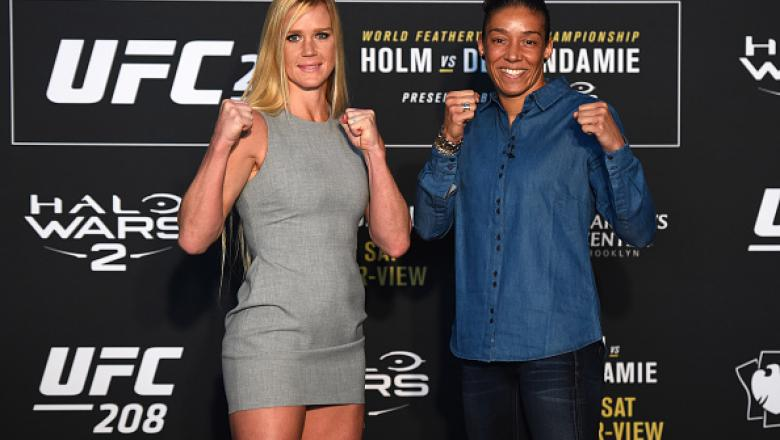 BROOKLYN, NY - FEBRUARY 08: (L-R) Holly Holm and Germaine de Randamie of The Netherlands face off during the UFC 208 Ultimate Media Day at the Barclays Center on February 8, 2017 in Brooklyn, New York. (Photo by Jeff Bottari/Zuffa LLC/Zuffa LLC via Getty