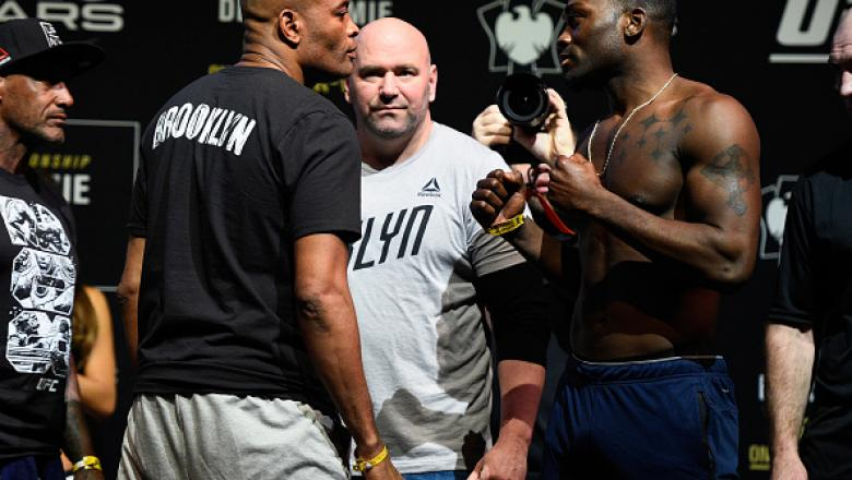 BROOKLYN, NEW YORK - FEBRUARY 10:  (L-R) Anderson Silva of Brazil and Derek Brunson face off during the UFC 208 weigh-in inside Kings Theater on February 10, 2017 in Brooklyn, New York. (Photo by Jeff Bottari/Zuffa LLC/Zuffa LLC via Getty Images)