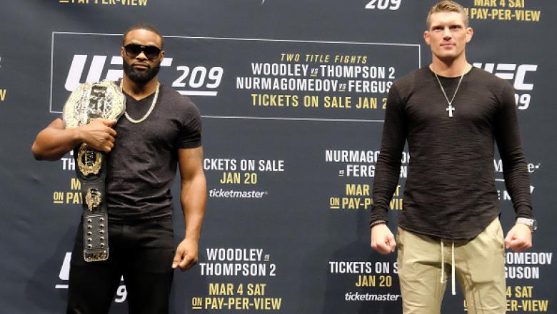LAS VEGAS, NV - JANUARY 19:  (L-R) UFC Welterweight Champion Tyron Woodley and No. 1 UFC welterweight contender Stephen Thompson pose for the media during the UFC 209 Ultimate Media Day event inside The Park Theater on January 19, 2017 in Las Vegas, Nevad