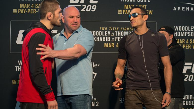 LAS VEGAS, NV - MARCH 02:  (L-R) Khabib Nurmagomedov of Russia and Tony Ferguson face off during the UFC 209 Ultimate Media Day inside TMobile Arena on March 2, 2017 in Las Vegas, Nevada. (Photo by Brandon Magnus/Zuffa LLC/Zuffa LLC via Getty Images)