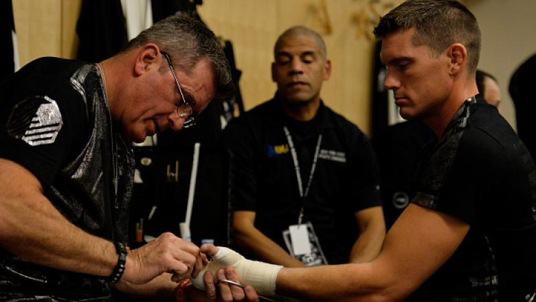 NEW YORK, NY - NOVEMBER 12:  Stephen Thompson has his hands wrapped in his locker room prior to his UFC welterweight title bout against Tyron Woodley during the UFC 205 event at Madison Square Garden on November 12, 2016 in New York City.  (Photo by Brand