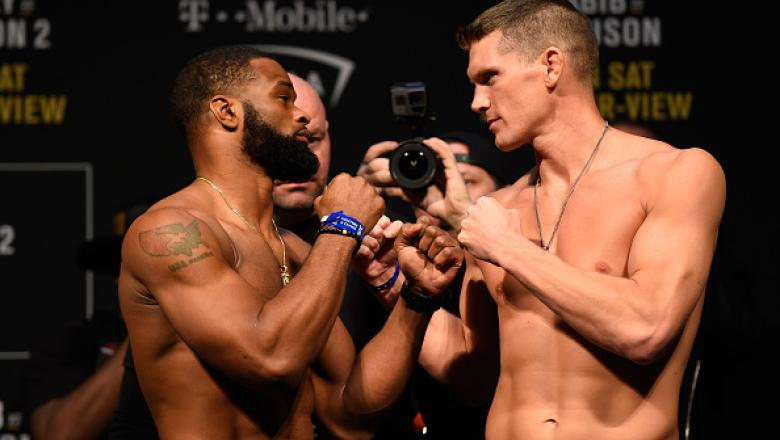 LAS VEGAS, NV - MARCH 03:  (L-R) UFC welterweight champion Tyron Woodley and Stephen Thompson face off during the UFC 209 weigh-in at T-Mobile arena on March 3, 2017 in Las Vegas, Nevada. (Photo by Josh Hedges/Zuffa LLC/Zuffa LLC via Getty Images)