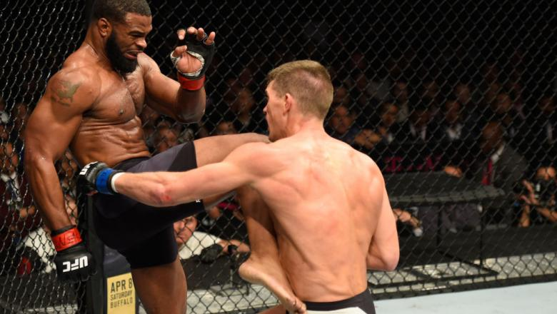 LAS VEGAS, NV - MARCH 04: (L-R) Tyron Woodley knees Stephen Thompson in their UFC welterweight championship bout during the UFC 209 event at T-Mobile Arena on March 4, 2017 in Las Vegas, Nevada.  (Photo by Josh Hedges/Zuffa LLC/Zuffa LLC via Getty Images)