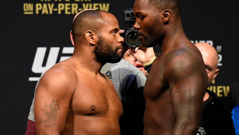 BUFFALO, NY - APRIL 07:  (L-R) Opponents Daniel Cormier and Anthony Johnson face off during the UFC 210 weigh-in at the KeyBank Center on April 7, 2017 in Buffalo, New York. (Photo by Josh Hedges/Zuffa LLC/Zuffa LLC via Getty Images)