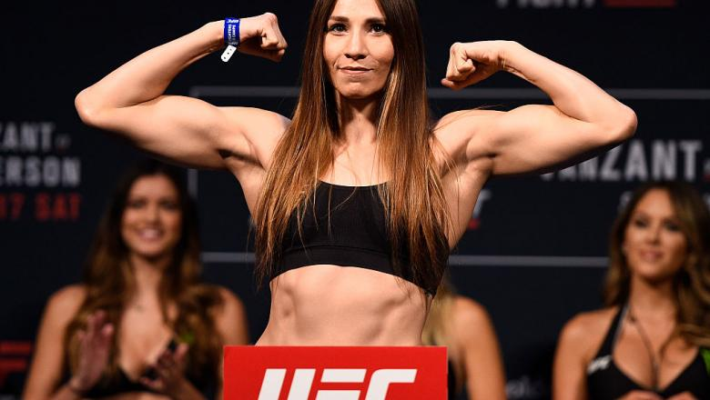 SACRAMENTO, CA - DECEMBER 16:  Irene Aldana of Mexico poses on the scale during the UFC Fight Night weigh-in inside the Golden 1 Center Arena on December 16, 2016 in Sacramento, California. (Photo by Jeff Bottari/Zuffa LLC/Zuffa LLC via Getty Images)