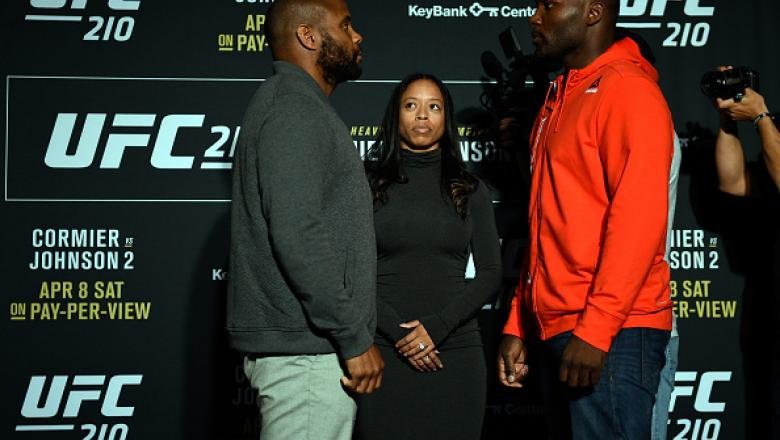 BUFFALO, NEW YORK - APRIL 05:  (L-R) Daniel Cormier and Anthony Johnson face off during the UFC 210 Ultimate Media Day inside the KeyBank Center on April 5, 2017 in Buffalo, New York. (Photo by Jeff Bottari/Zuffa LLC/Zuffa LLC via Getty Images)