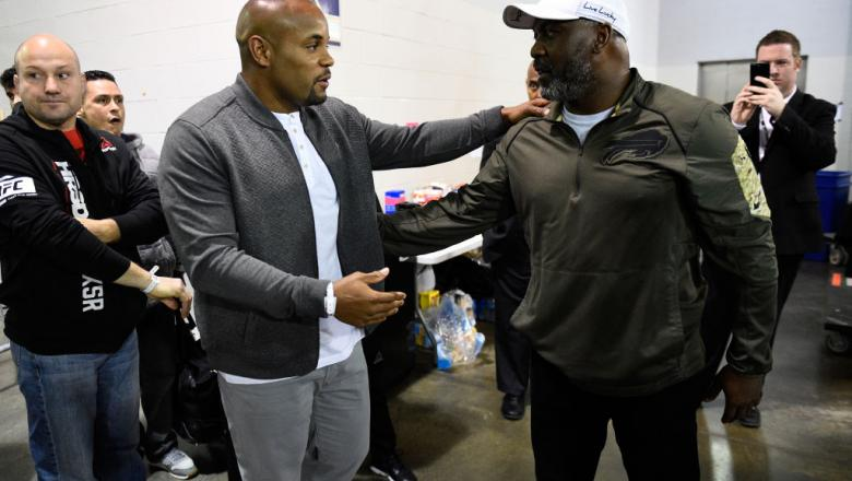 BUFFALO, NY - APRIL 08:  (L-R) Daniel Cormier interacts with former Buffalo Bills running back Hall of Famer Thurman Thomas backstage during the UFC 210 event at the KeyBank Center on April 8, 2017 in Buffalo, New York. (Photo by Jeff Bottari/Zuffa LLC/Zu